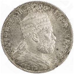 ETHIOPIA: Menelik II, 1889-1913, AR 1/2 birr, EE1889 (1897). NGC MS63