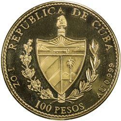 CUBA: Republic, AV 100 pesos, 1990. PF