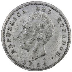ECUADOR: Republic, 2 decimos, 1884. EF