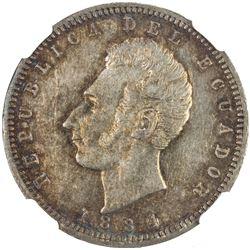 ECUADOR: Republic, AR 1/2 sucre, 1884. NGC AU55