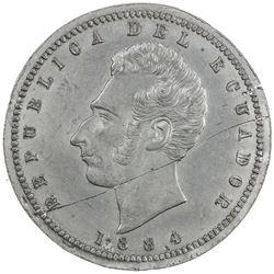 ECUADOR: Republic, 1/2 sucre, 1884. EF