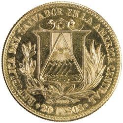 EL SALVADOR: Republic, AV 20 pesos (29.54g), 1861. UNC