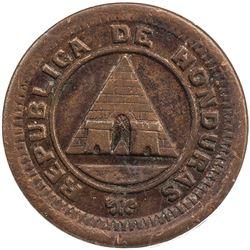 HONDURAS: Republic, AE 1/2 centavo, 1891. PCGS AU55