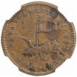 MEXICO: Republic, AE 1/16 real, 1860