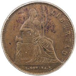 MEXICO: Republic, AE 1/4 real, 1842-Mo