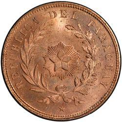 PARAGUAY: Republic, AE centesimo, 1870. PCGS SP65