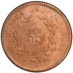 PARAGUAY: Republic, AE 2 centesimos, 1870. PCGS SP65
