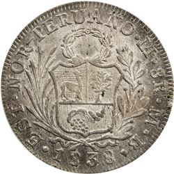 PERU: North Peru, AR 8 reales, Lima, 1838. PCGS MS62