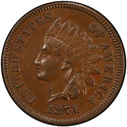 UNITED STATES: 1871 Indian Head 1C PCGS AU58