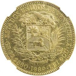 VENEZUELA: Republic, AV 100 bolivares, 1889. NGC AU55