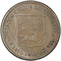 VENEZUELA: Republic, AR 25 centimos, 1911. PCGS UNC