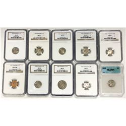 VENEZUELA: LOT of 10 slabs, all NGC, except where noted