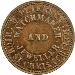 NEW ZEALAND: AE penny token, ND (1857). EF