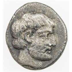 CARIA: Hekatomnos, ca 395-376 BC, AR diobol (1.19g). VF