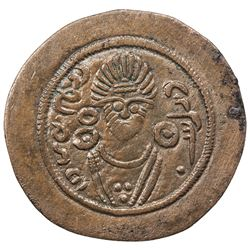 ARAB-SASANIAN: Anonymous, AE pashiz (1.12g), Bishapur, ND. VF