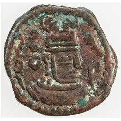 ARAB-SASANIAN: Anonymous, AE pashiz (2.58g), Zaranj, ND. VF
