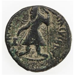 KUSHAN: Kanishka I, ca. 127-147, AE 1/2 unit (8.19g). VF