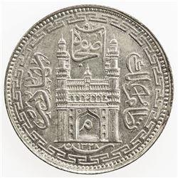 HYDERABAD: Mir Mahbub Ali Khan, 1868-1911, AR 8 anna, Farkhanda Bunyad, AH1328 year 43. EF