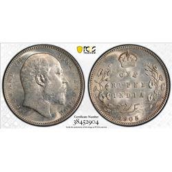BRITISH INDIA: Edward VII, 1901-1910, AR rupee, 1905(c). PCGS MS63