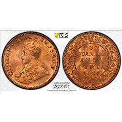 BRITISH INDIA: George V, 1910-1936, AE 1/4 anna, 1928(c). PCGS MS65