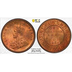 BRITISH INDIA: George V, 1910-1936, AE 1/4 anna, 1933(c). PCGS MS65
