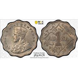 BRITISH INDIA: George V, 1910-1936, 1 anna, 1930(c). PCGS MS63