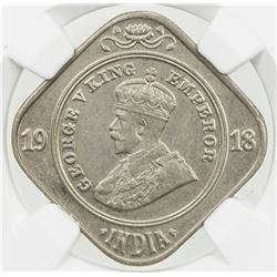 BRITISH INDIA: George V, 1910-1936, 2 annas, 1918(c). NGC MS64