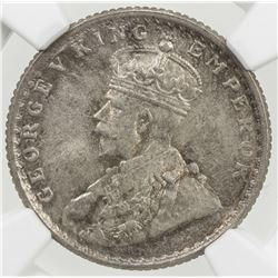BRITISH INDIA: George V, 1910-1936, AR 1/4 rupee, 1918(c)