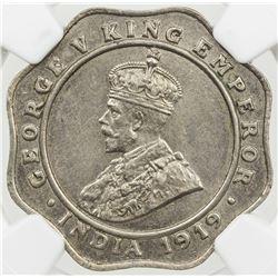 BRITISH INDIA: George V, 1910-1936, 4 annas, 1919(b). NGC MS62