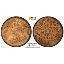 BRITISH INDIA: George V, 1910-1936, AE 1/4 anna, 1913(c). PCGS MS63