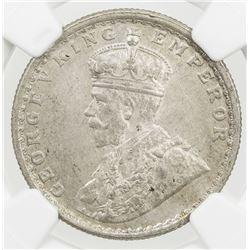 BRITISH INDIA: George V, 1910-1936, AR 1/2 rupee, 1912(b). NGC MS63