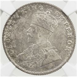 BRITISH INDIA: George V, 1910-1936, AR 1/2 rupee, 1924(b). NGC MS64