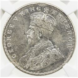 BRITISH INDIA: George V, 1910-1936, AR rupee, 1919(b). PCGS MS63