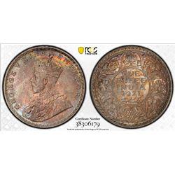 BRITISH INDIA: George V, 1910-1936, AR rupee, 1921(b). PCGS MS64