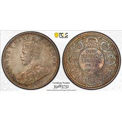 BRITISH INDIA: George V, 1910-1936, AR rupee, 1921(b). PCGS MS63