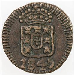 PORTUGUESE INDIA: Maria II, 1834-1853, AE 4 1/2 reis, 1845. VF