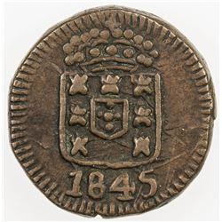PORTUGUESE INDIA: Maria II, 1834-1853, AE 6 reis, 1845. VF