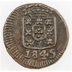 PORTUGUESE INDIA: Maria II, 1834-1853, AE 7 1/2 reis, 1845. VF