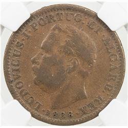 PORTUGUESE INDIA: Luiz I, 1861-1889, AE 1/8 tanga, 1881. NGC MS61