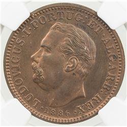 PORTUGUESE INDIA: Luiz I, 1861-1889, AE 1/4 tanga, 1886. NGC UNC