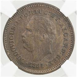 PORTUGUESE INDIA: Luiz I, 1861-1889, AE 1/4 tanga, 1881, NGC F