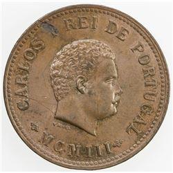 PORTUGUESE INDIA: Carlos I, 1889-1908, AE 1/2 tanga, 1903. UNC