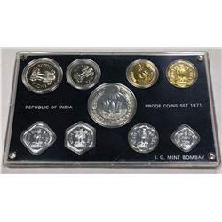INDIA: Republic, 9-coin proof set, 1971-B