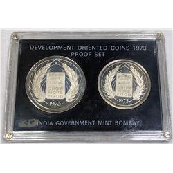 INDIA: Republic, 2-coin proof set, 1973-B