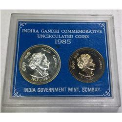 INDIA: Republic, 2-coin proof set, 1985-B