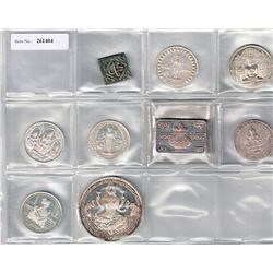 INDIA: LOT of 9 tokens, including eight silver modern machine struck 'temple tokens'