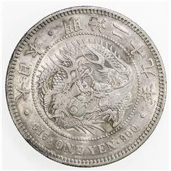 CHOPMARKED COINS: JAPAN: Meiji, 1868-1912, AR yen, year 29 (1896)