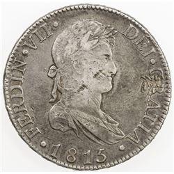 CHOPMARKED COINS: SPAIN: Fernando VII, 1808-1833, AR trade dollar, 1815-M. VF