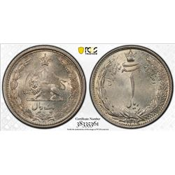 IRAN: Reza Shah, 1925-1941, AR rial, SH1313/2. PCGS MS64