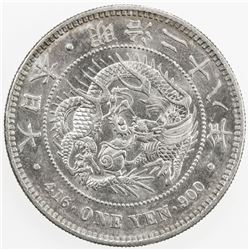JAPAN: Meiji, 1868-1912, AR yen, year 28 (1895). AU